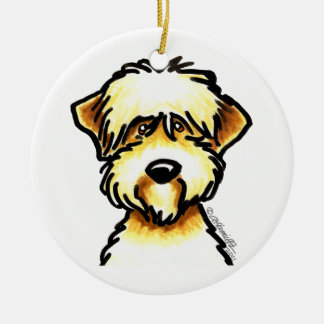 Soft Coated Wheaten Terrier Face Personalized Ceramic Ornament
