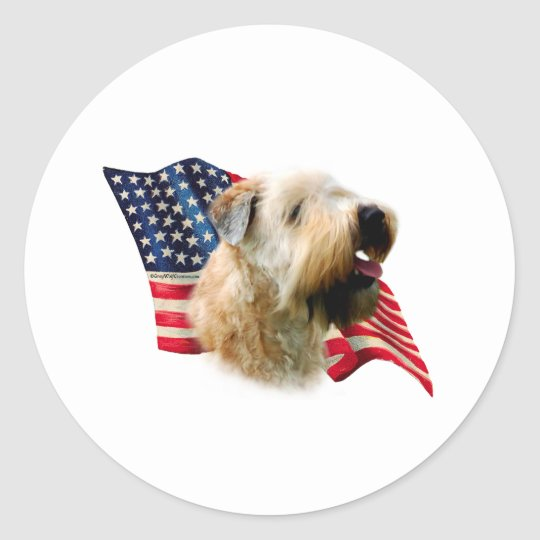 Soft Coated Wheaten Terrier Flag Classic Round Sticker