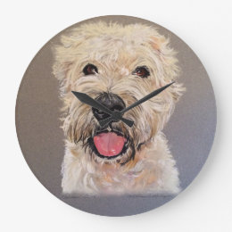 Soft Coated Wheaten Terrier Large Clock