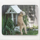 Soft Coated Wheaten Terrier on  wishing well Mouse Pad