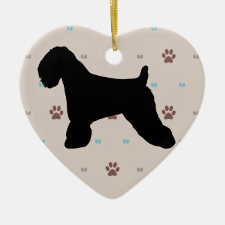 Soft Coated Wheaten Terrier Double-Sided Heart Ceramic Christmas Ornament