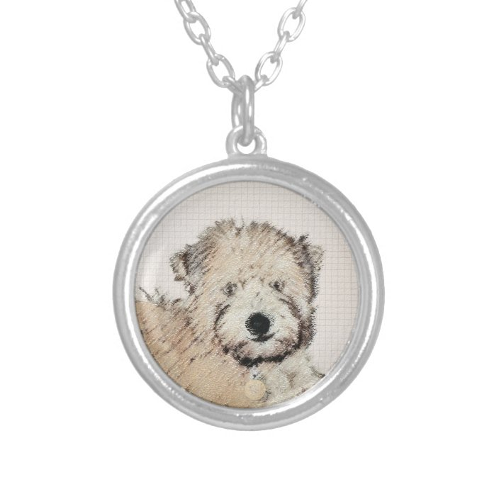 Soft-coated Wheaten Terrier high qauality Art Dog silver covered necklace