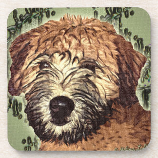 Soft-Coated Wheaten Terrier Puppy with Wet Face Coaster