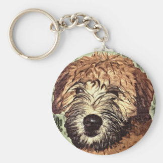 Soft-Coated Wheaten Terrier Puppy with Wet Face Keychain