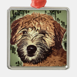Soft-Coated Wheaten Terrier Puppy with Wet Face Metal Ornament