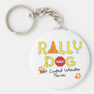 Soft Coated Wheaten Terrier Rally Dog Keychain