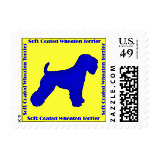 Soft Coated Wheaten Terrier Silhouette Postage Stamps