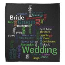 Soft Color Wedding Words on Black Bandana