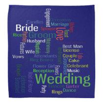 Soft Color Wedding Words on Dark Navy Blue Bandana