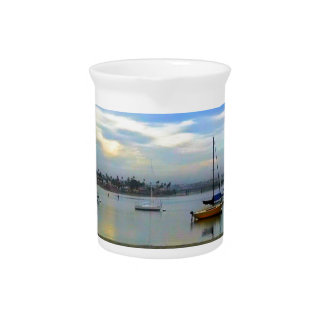 Soft Colors Over the Bay Beverage Pitcher