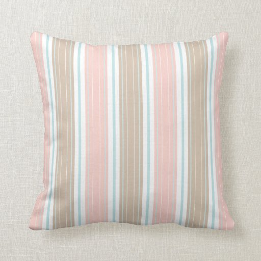 Shabby Chic White Throw Pillows : Soft Coral Aqua & Tan on White Shabby Chic Stripes Throw Pillow Zazzle