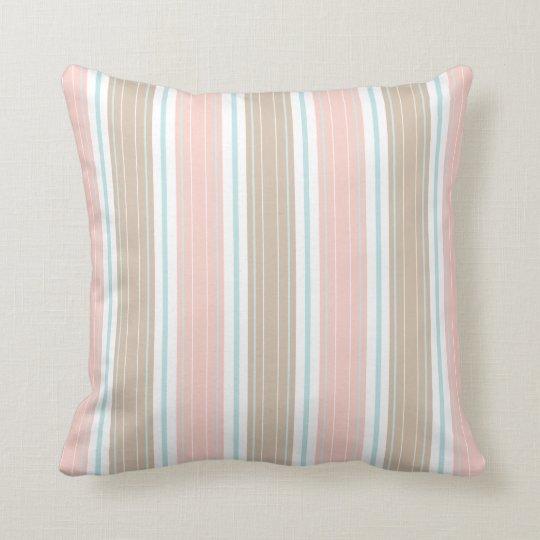Soft Coral Aqua & Tan on White Shabby Chic Stripes Throw Pillow
