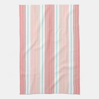 Soft Coral Aqua & Tan on White Shabby Chic Stripes Towel