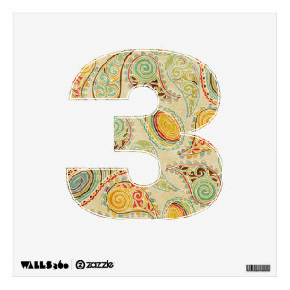 Soft Country Paisley Number Three Wall Decal