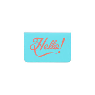 Soft cyan and Bittersweet Hello Business Card Holder