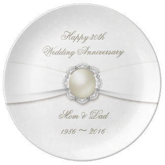 Soft Damask 30th Anniversary Porcelain Plate