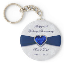 Soft Damask 45th Wedding Anniversary Key Chain