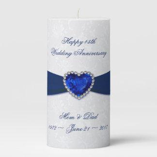 Soft Damask 45th Wedding Anniversary Pillar Candle