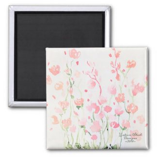 Soft Delicate Pink and Green Watercolor Flowers Magnet