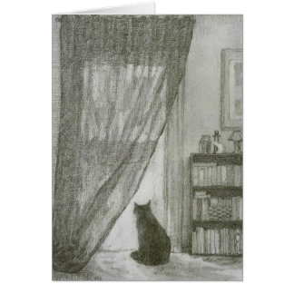 Soft drawing of black kitty in a window card