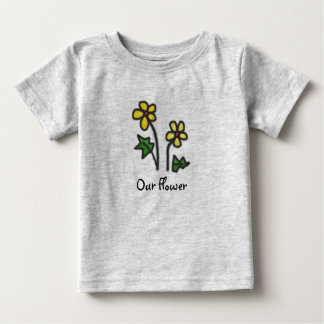 Soft Drawn Yellow Flower with Custom Text Baby T-Shirt