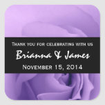 Soft Dreamy Purple Rose Premium Wedding Collection Square Stickers