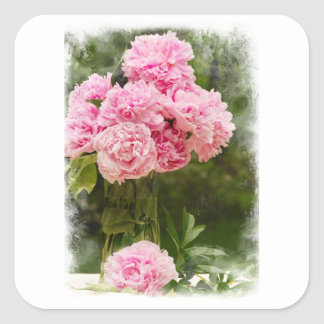 Soft Edged Pink Peony Bouquet Square Sticker