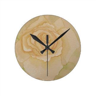 Soft Elegant Romantic Golden Autumn Rose Round Clock