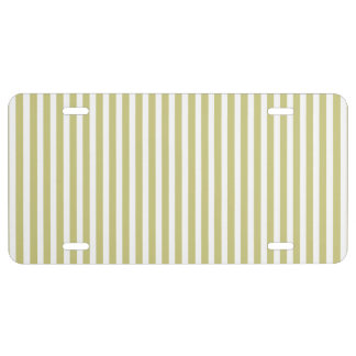 Soft Fern Green And White Cabana Stripe Pattern License Plate