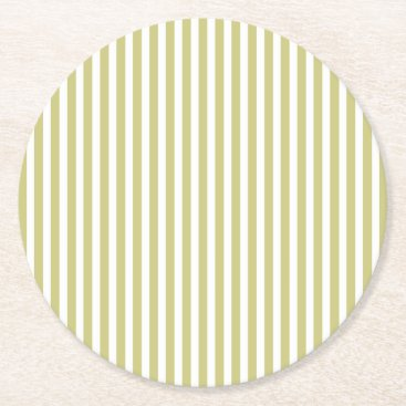 Beach Themed Soft Fern Green And White Cabana Stripe Pattern Round Paper Coaster