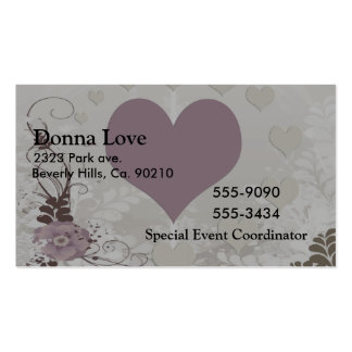 Soft Floral Hearts In Mauve & Grey Business Card