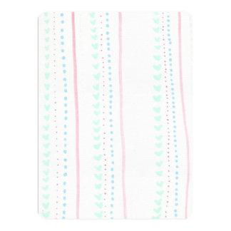 Soft FloralVine Stripe hearts invitation cards
