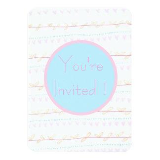 Soft FloralVine Stripe invitation cards