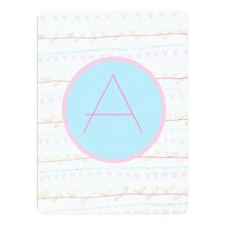 Soft FloralVine Stripe-monogram A invitation cards