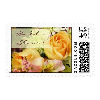 Soft flower arrangement bridal shower stamp