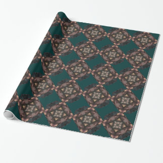Soft Fluffy Mauve Teal Feather Mandala Party Wrapping Paper