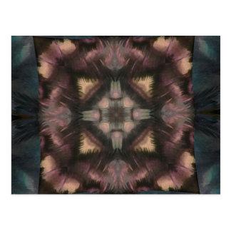 Soft Fluffy Mauve Teal Feather Mandala Postcard
