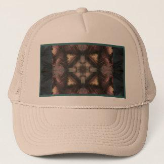 Soft Fluffy Mauve Teal Feather Mandala Trucker Hat