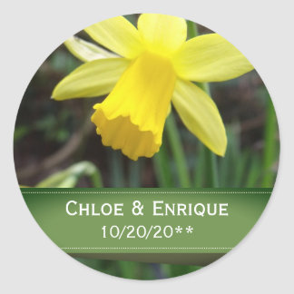 Soft Focus Daffodil Personalized Wedding Classic Round Sticker
