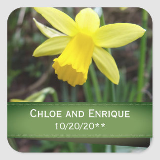 Soft Focus Daffodil Personalized Wedding Square Sticker