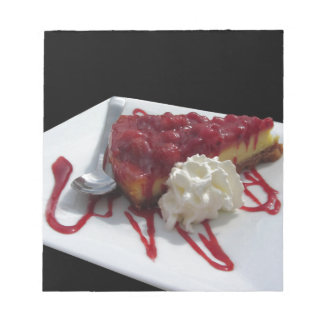 Soft fruits cheesecake with fresh berries isolated notepad