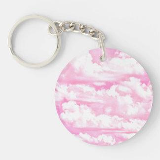 Soft Fuchsia Pink Girly Clouds Keychain