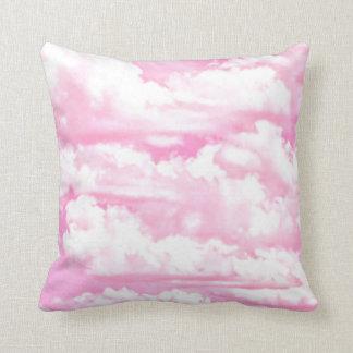Soft Fuchsia Pink Girly Clouds Pillow