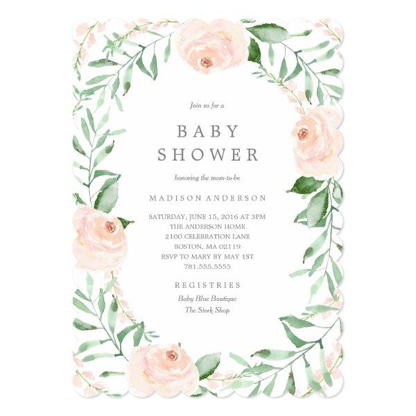 Soft Garden Florals Baby Shower Invitation