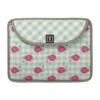 soft gingham plaid and shabby roses pattern sleeve for MacBook pro