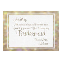 Soft Gold Bokeh Lights Will You Be My Bridesmaid Card
