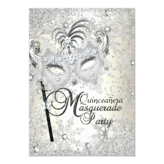 Soft Gold Snowflake Mask Masquerade Quinceanera Card