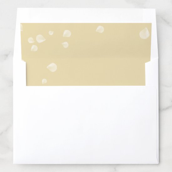 Soft Gold Watercolor Wash White Blossoms Overlay Envelope Liner