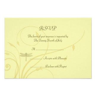 Soft Golden Flourishes RSVP Personalized Announcement
