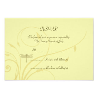 Soft Golden Flourishes RSVP Personalized Announcement